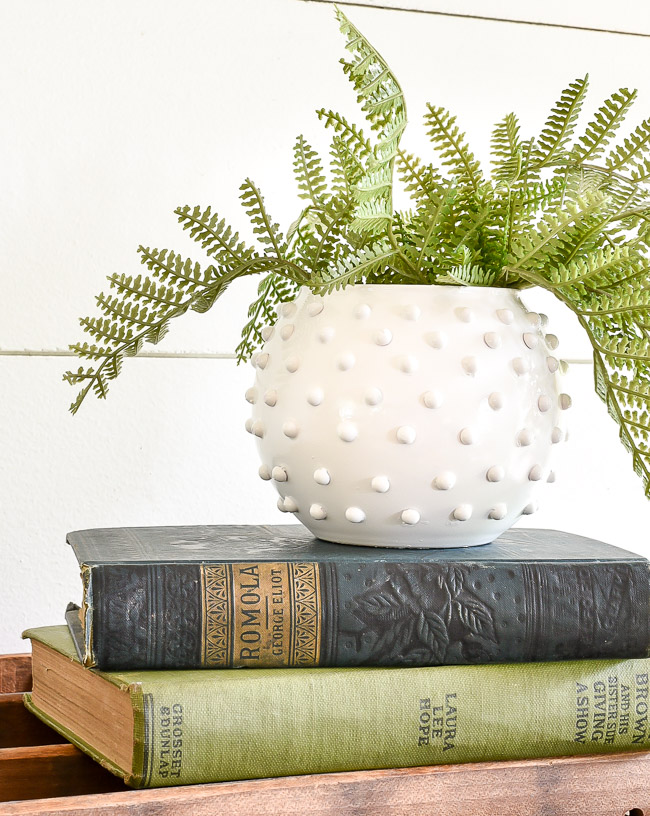 DIY Dollar Tree White Hobnail Milk glass vase